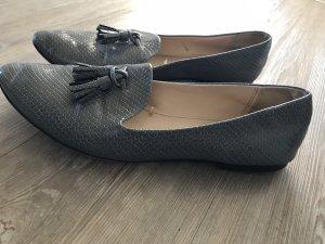 Zara Basic Ballerinas Business Schuhe Schlangenleder Reptilien Gr.41 grau