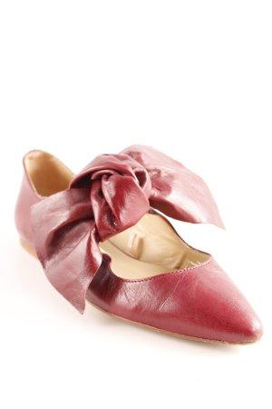 Zara Basic Ballerinas mit Spitze karminrot Casual-Look