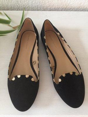 ♥ ZARA Basic Ballerinas ♥ slipper, schwarz gold Gr. 40 w NEU, Boho, Trend