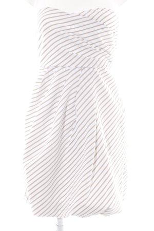 Zara Basic vestido de globo beige-blanco estampado a rayas elegante