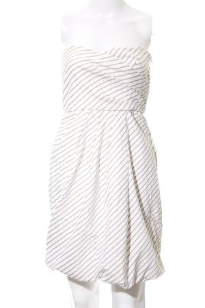 Zara Basic Bandeaukleid creme-beige Streifenmuster Elegant