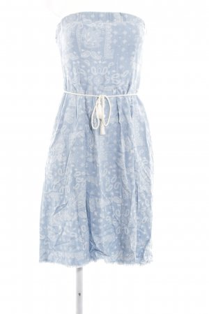 Zara Basic Bandeau Dress azure-white paisley pattern beach look