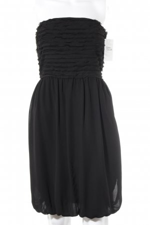 Zara Basic Bandeaukleid schwarz Streifenmuster Party-Look
