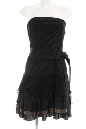 Zara Basic Vestido bandeau negro-taupe elegante