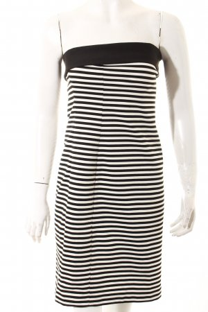 Zara Basic Bandeaukleid weiß-schwarz Casual-Look