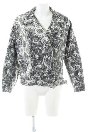 Zara Basic Bikerjacke weiß-schwarz abstraktes Muster extravaganter Stil