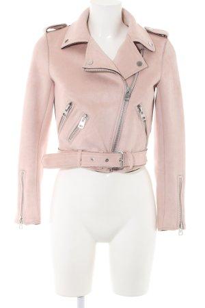 Zara Basic Chaqueta de motociclista rosa look casual