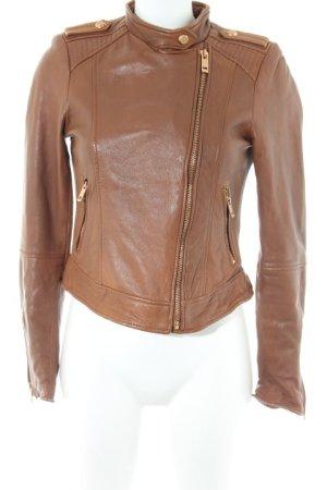Zara Basic Bikerjacke hellbraun Street-Fashion-Look