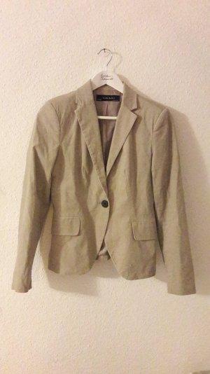 Zara Basic Blazer Cord Samt Feincord Beige taillierte Jacke