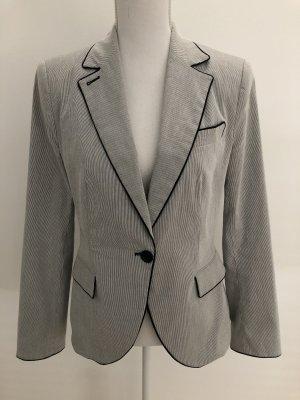 Zara Basic Blazer Jacke grau gestreift schwarzer Rand