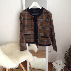 Zara Basic Blazer Karo Kariert L Blogger Braun Tweed Tartan 40 Damenmantel
