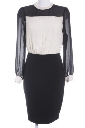 Zara Basic Bleistiftkleid schwarz-creme Business-Look