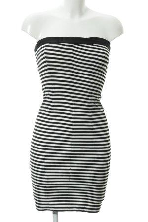Zara Basic Bleistiftkleid schwarz-weiß Streifenmuster Marine-Look