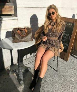 Zara Mini Abito marrone chiaro-nero