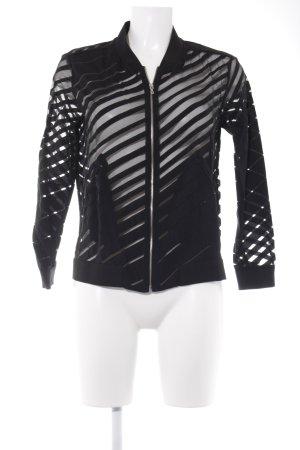 Zara Basic Blouson schwarz Streifenmuster Casual-Look