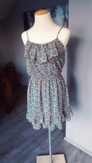 Zara Basic Blumen Kleid Minikleid Casual Chic Gr S blau rot Blumenkleid Flowerprint