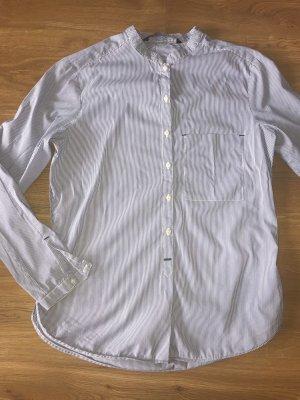 Zara Basic Bluse Hemd blau weiß gestreift S 36 Top ohne Kragen Damen