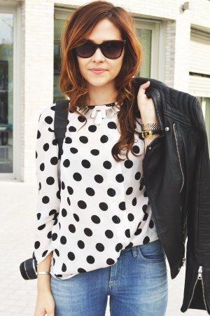 Zara Basic Bluse, mit Punkten