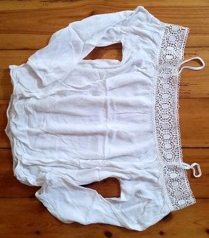 Zara Basic Camisa de un solo hombro blanco Poliéster