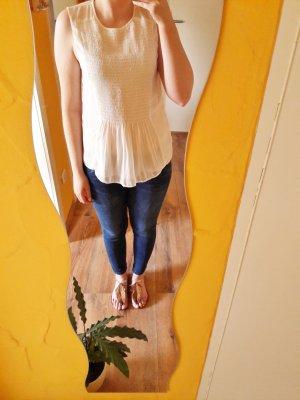 Zara Basic Bluse Top creme Gr. XS