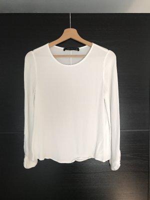 Zara Blusa de manga larga blanco-blanco puro