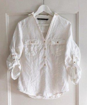 Zara Basic Bluse, weiß & gold, Leinen, Gr. S