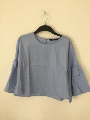 Zara Basic Blusen Shirt mit Volantärmeln Blau