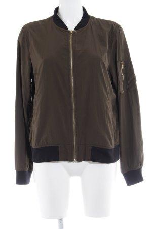 Zara Basic Blusenjacke olivgrün-schwarz Casual-Look