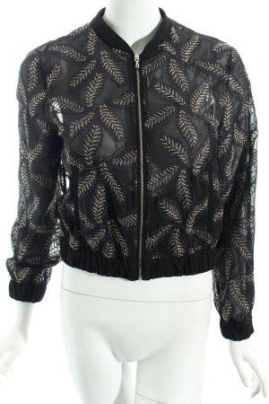 Zara Basic Blusenjacke schwarz-goldfarben Street-Fashion-Look