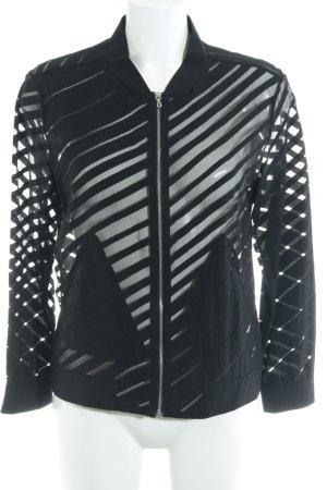 Zara Basic Blusenjacke schwarz Streifenmuster Transparenz-Optik