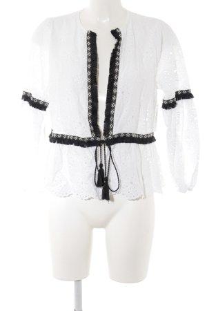 Zara Basic Veste chemisier noir-blanc style Boho