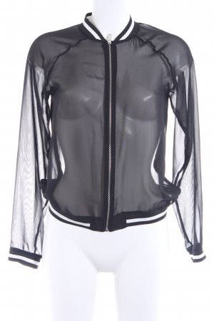 Zara Basic Blouse Jacket black-white printed lettering casual look