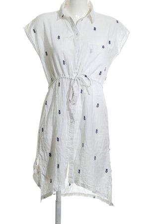 Zara Basic Blusenkleid weiß-neonblau Motivdruck Casual-Look
