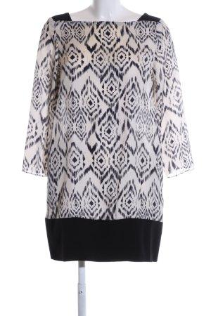Zara Basic Blusenkleid wollweiß-schwarz grafisches Muster Casual-Look
