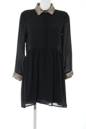 Zara Basic Abito blusa nero-crema motivo animale stile casual