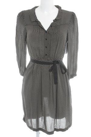 Zara Basic Blusenkleid creme-schwarz Punktemuster Casual-Look