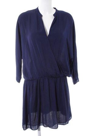 Zara Basic Blusenkleid dunkelblau Glanz-Optik