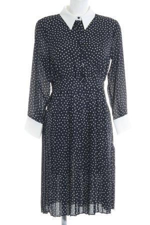 Zara Basic Blusenkleid dunkelblau-weiß Punktemuster Casual-Look