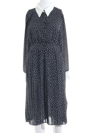 Zara Basic Blusenkleid dunkelblau-wollweiß Punktemuster Romantik-Look
