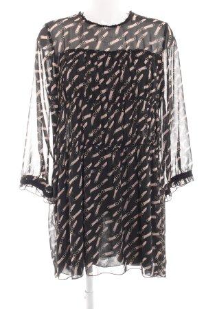 Zara Basic Blusenkleid schwarz-pink Allover-Druck Elegant