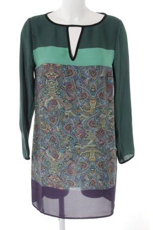Zara Basic Blusenkleid grasgrün-khaki abstraktes Muster Business-Look