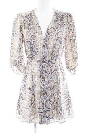 Zara Basic Blusenkleid hellbeige-dunkelblau Animalmuster Casual-Look