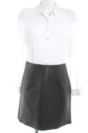 Zara Basic Blusenkleid schwarz-weiß Business-Look