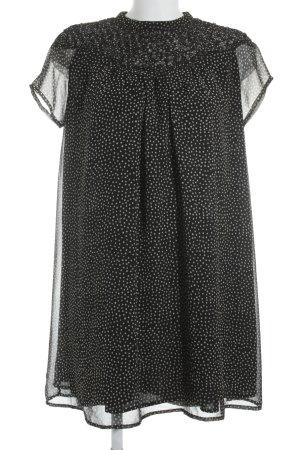 Zara Basic Blusenkleid schwarz-wollweiß Punktemuster 50ies-Stil