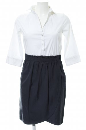 Zara Basic Blusenkleid weiß-dunkelblau Casual-Look