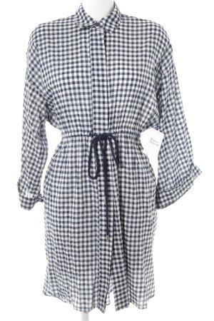 Zara Basic Blusenkleid weiß-dunkelblau Karomuster Casual-Look