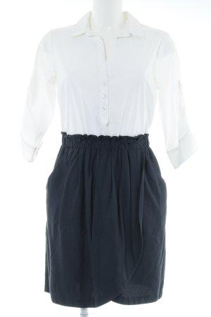 Zara Basic Blusenkleid weiß-dunkelblau klassischer Stil