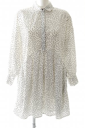 Zara Basic Blusenkleid weiß-schwarz Punktemuster schlichter Stil