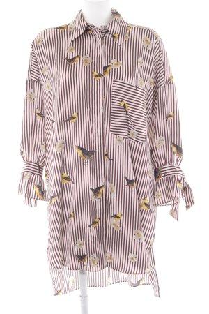 Zara Basic Blusenkleid wollweiß-braunrot Motivdruck Schimmer-Optik