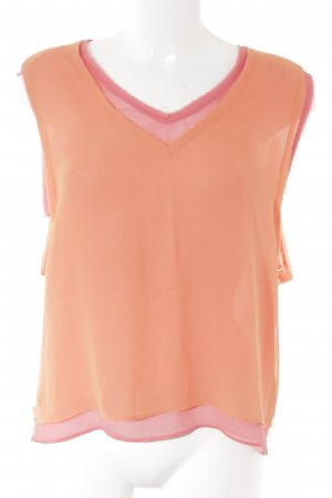 Zara Basic Blusentop neonorange-neonpink Beach-Look